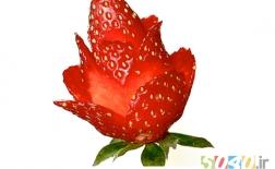 ساخت گل رز با توت فرنگی