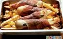 مرغ کبابی با سبزیجات زیرزمینی
