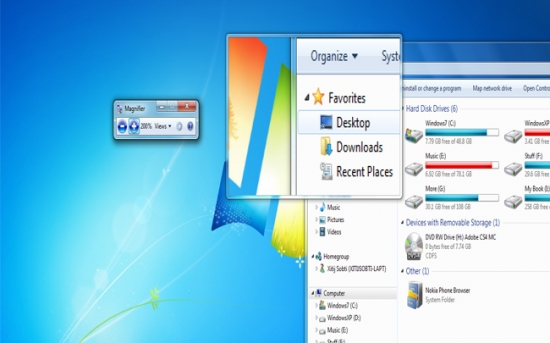 بزرگ نمایی سریع و تمام صفحه در ویندوز 7