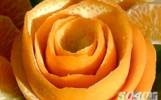 ساخت گل رز با پوست پرتقال