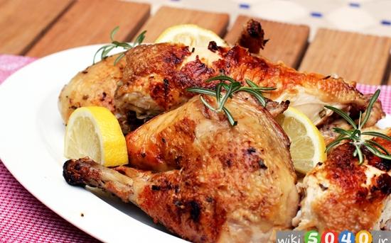 مرغ سوخاری با سیر و رزماری