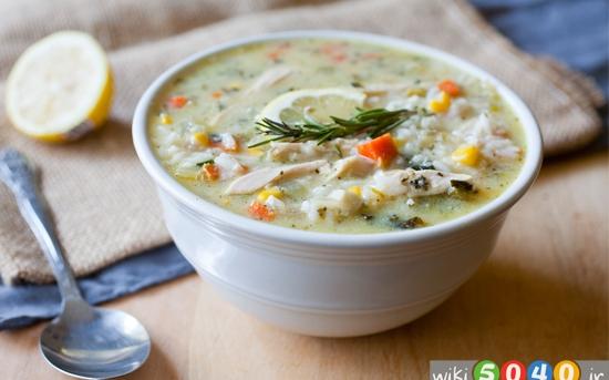 سوپ مرغ و برنج قهوه ای